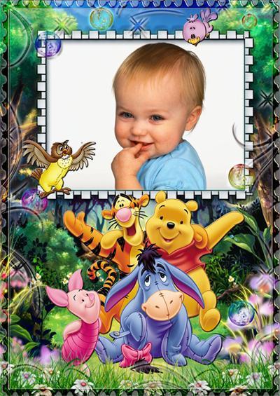 Вставить детское фото в рамку с героями сказки про Винни ...: http://www.effectfree.ru/photoeffects/2411.html