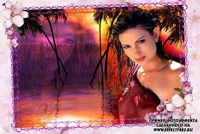 Сделать онлайн фото в рамку с розовыми цветами