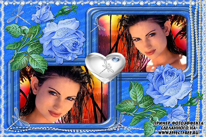 Рамка с голубыми розами на два фото сделать онлайн