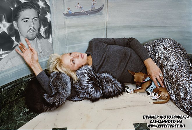Эффект с Перис Хилтон, портрет в спальне сделать онлайн