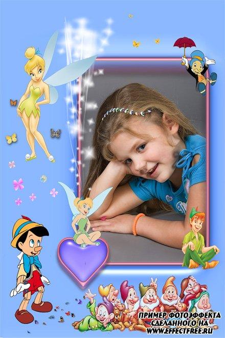 Детская рамка с феями, Пиноккио, Питером Пеном и гномами сделать онлайн