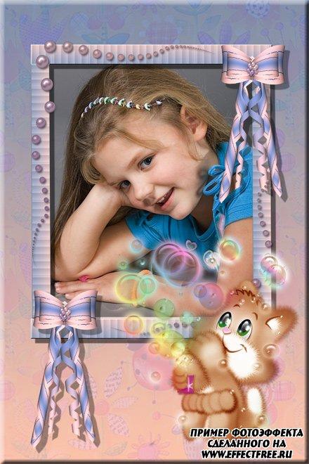 Детская рамочка с котенком и бантиками, сделать онлайн