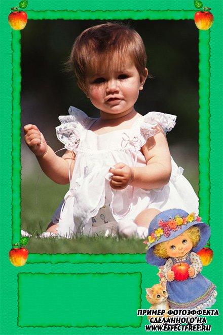 Детская рамочка с куклой для девочек, сделать онлайн