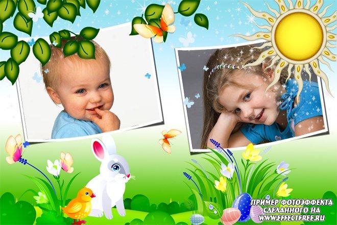 Детская рамка с кроликами на два фото, сделать онлайн