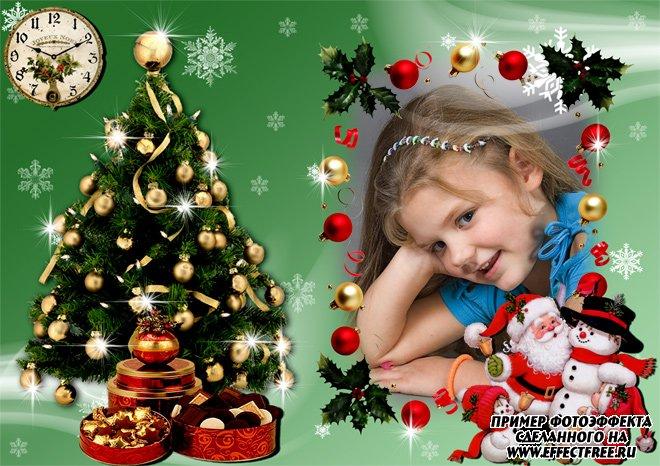 Красивая новогодняя рамка со снеговиком и дедом Морозом, сделать онлайн