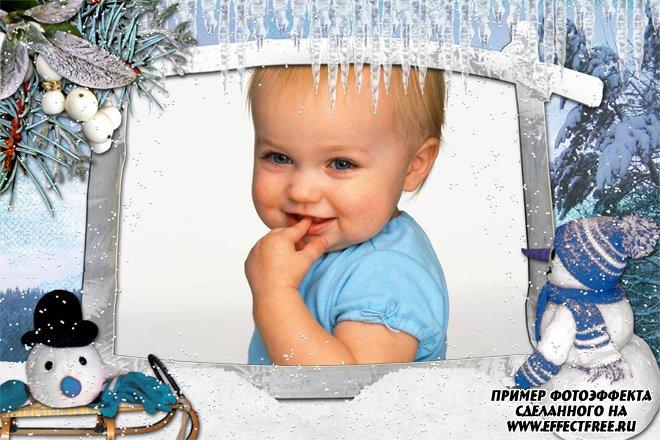 Рамка со снеговиком, вставить фото онлайн