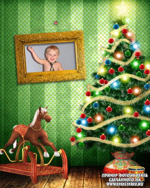 Фото в рамке с новогодней елкой, сделать эффект онлайн