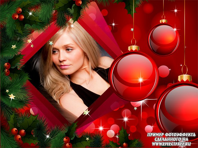 Красивая рамка с красными новогодними шарами онлайн