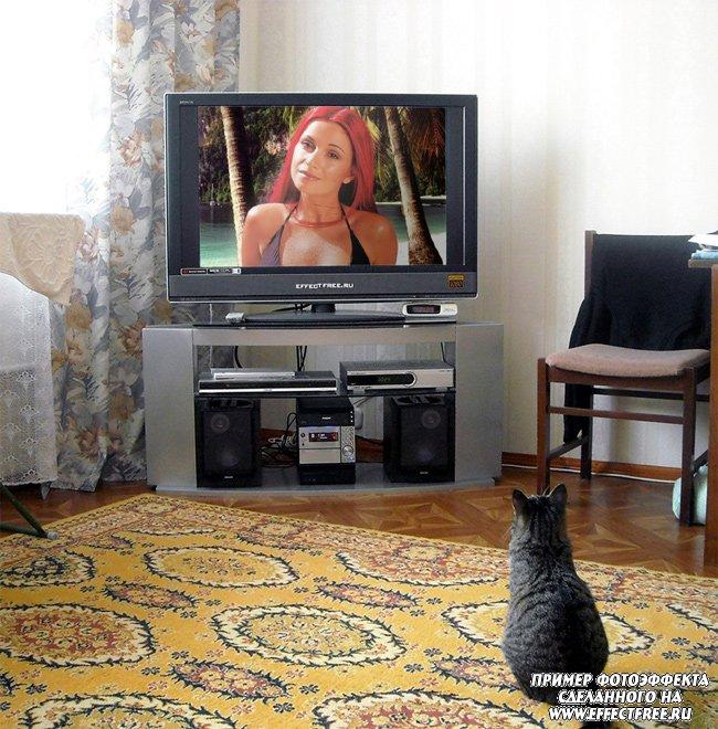 Фотоэффект на экране телевизора сделать онлайн