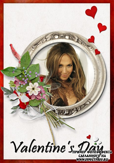Рамочка с цветами ко дню Святого Валентина, вставить фото в рамку онлайн
