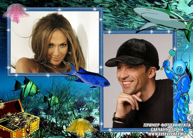 Рамочка на два фото в подводном мире сделать онлайн
