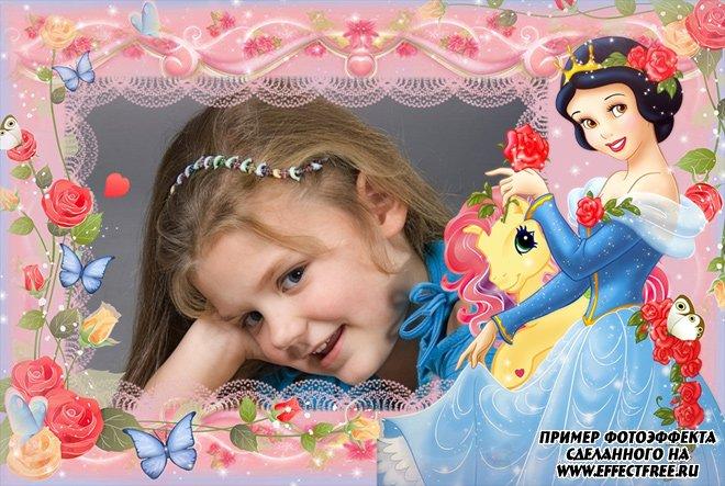 Детская рамочка с принцессой сделать онлайн