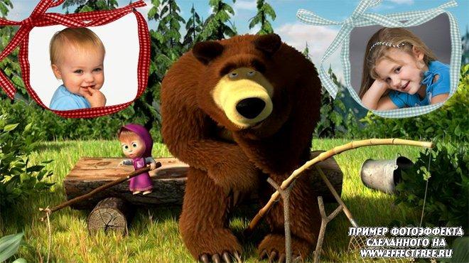 Рамка на 2 фото с героями мультфильма Маша и Медведь, сделать онлайн фотошоп