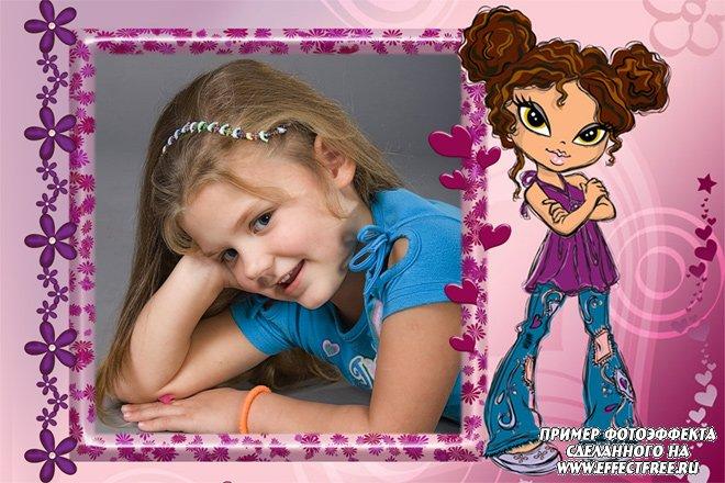 Рамочка для фото для девочек с героиней Братс, сделать в онлайн фотошопе
