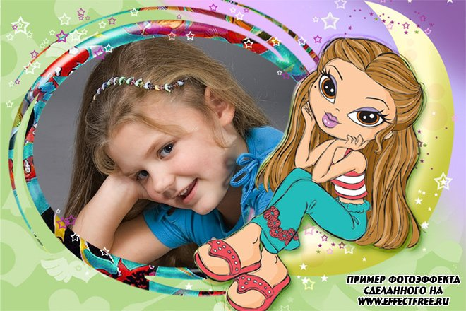 Красивая детская рамочка для фото для девочек, вставить фото в рамку онлайн