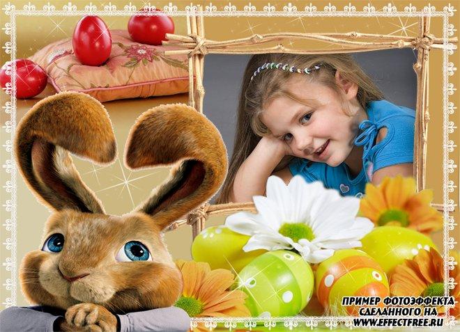 Рамочки для фото с пасхальным кроликом к празднику, сделать в онлайн редакторе