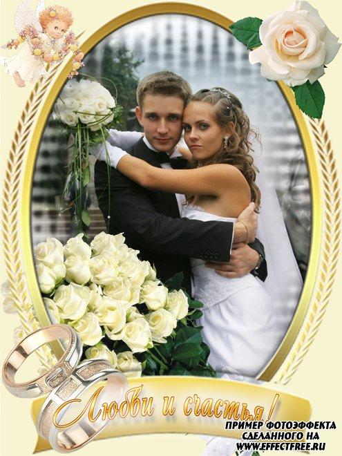 Рамки для свадебных фотографий с пожеланиями любви, сделать в онлайн фотошопе