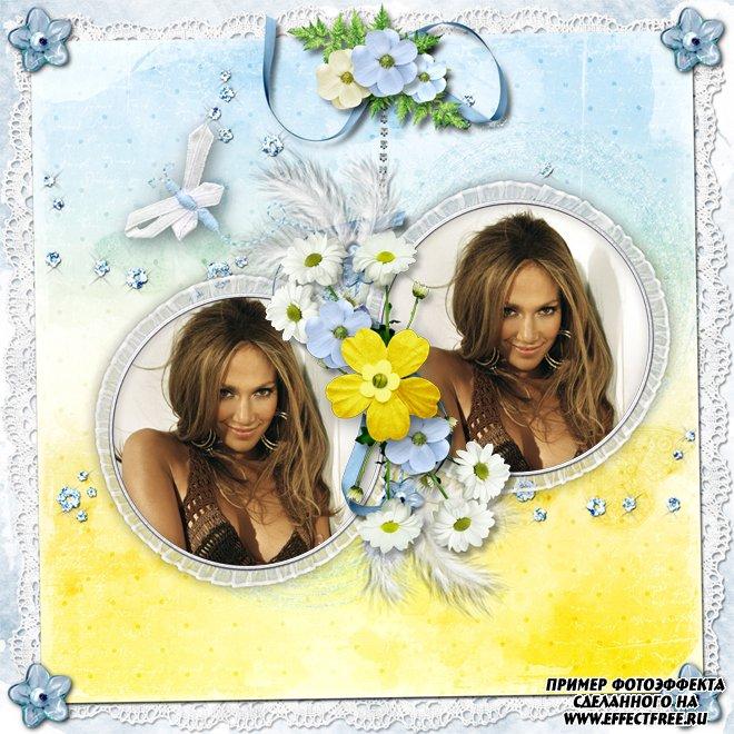Красивая нежная рамочка на два фото с цветами и бабочками, сделать онлайн