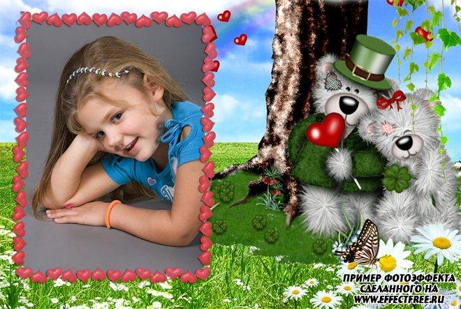 Детская рамочка для фото с милыми собачками, вставить фото онлайн