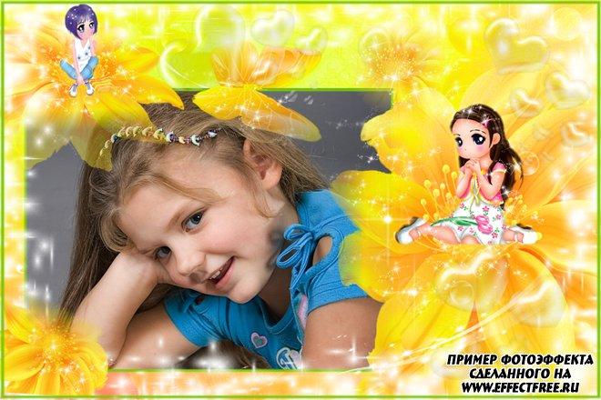 Рамка для фото девочек с милыми Дюймовочками, сделать онлайн
