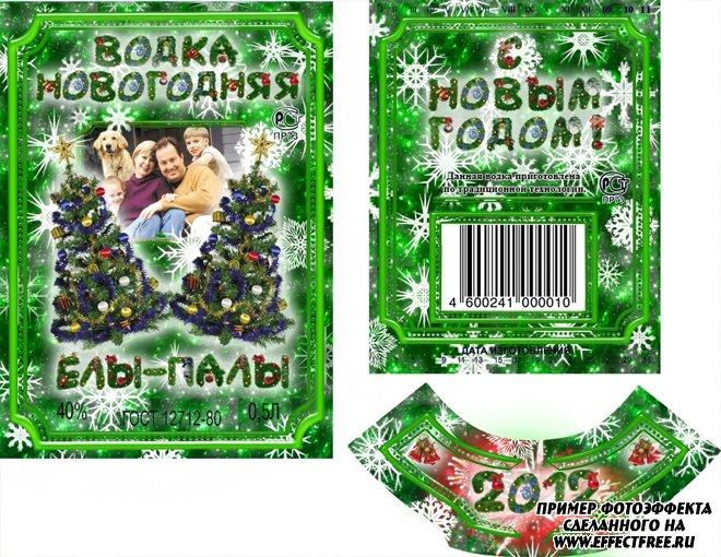 Вставить фото в этикетку на новогоднюю бутылку водки онлайн