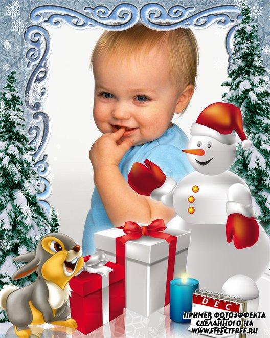 Рамочка к рождеству со снеговиком и зайчиком, сделать онлайн фотошоп