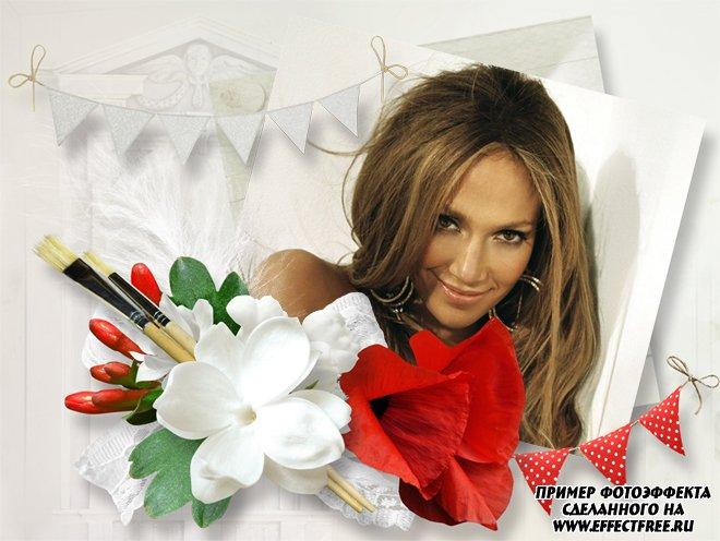 Фоторамка с белыми и красными цветами, вставить фото в рамку онлайн