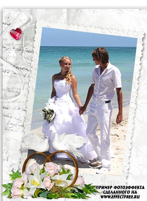 Вертикальная свадебная рамочка с обручальными кольцами, фотошоп онлайн