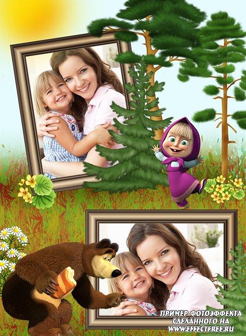Деткие рамки с мультгероями, онлайн вставить фотки в рамку с Машей