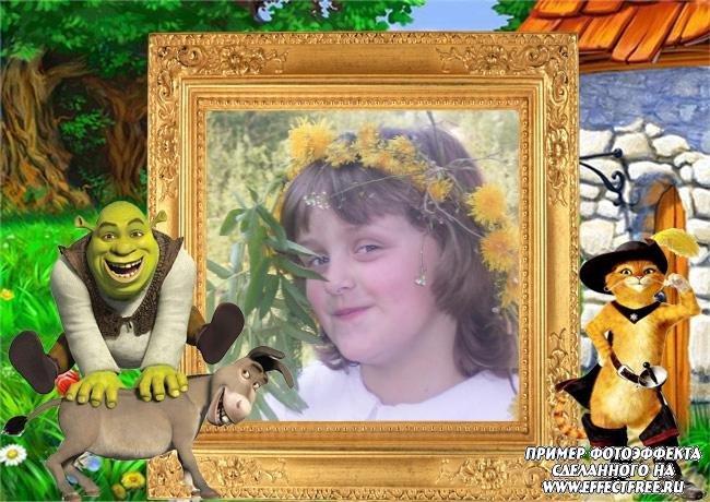 """Вставить фото ребёнка в рамку из мульта """"Шрек"""" онлайн"""