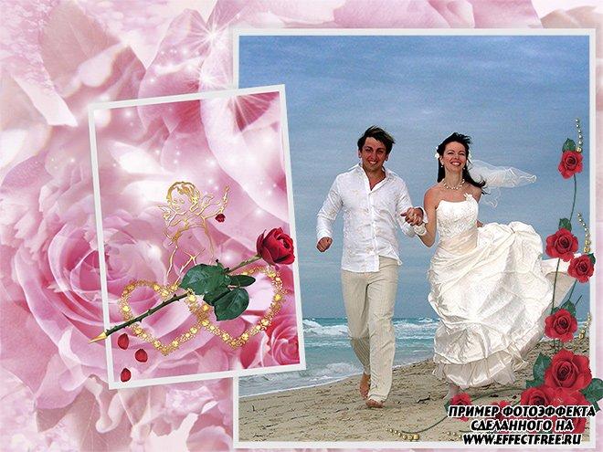 Рамка для влюбленных с розами и сердечками, сделать фотоэффекты онлайн