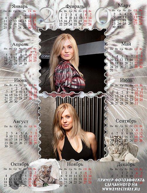 Календарь 2500х1900 с тигром и тигрятами на два фото сделать онлайн