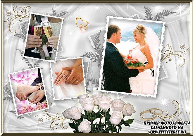 Красивая свадебная рамка на четыре фото сделать онлайн