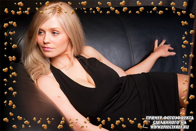 Золотые сердечки, накладка на фото сделать онлайн