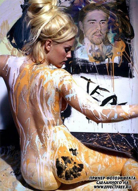 Фотоэфект картины красками с красивой девушкой сделать онлайн