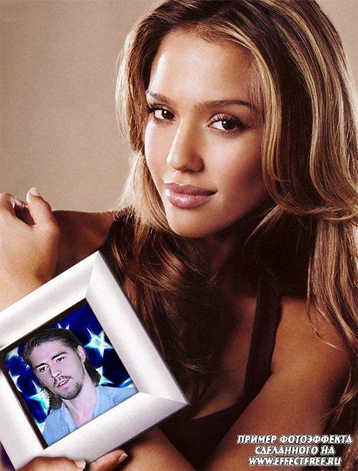 Фотоэффек портрет в руках Джессики Альбы сделать онлайн