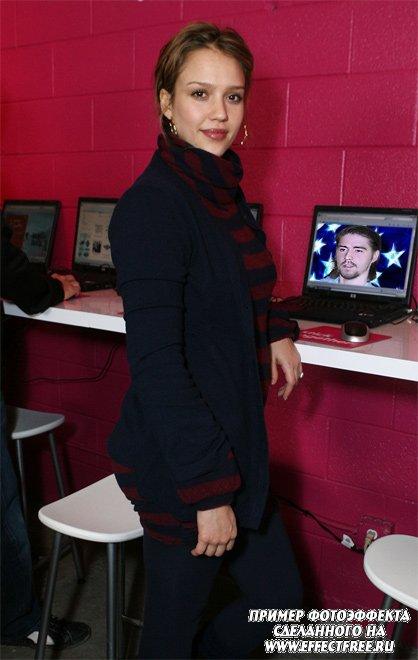 Фотоэффект на мониторе компьютера Джессики Альбы сделать онлайн
