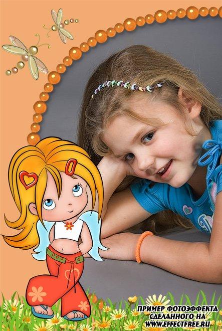 Вставить фото в детскую рамочку для девочек онлайн