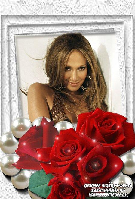 Рамка с красными розами сделать онлайн