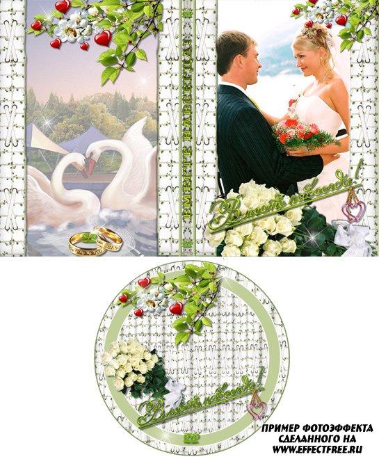 Свадебная обложка на ДВД с лебедями, сделать онлайн