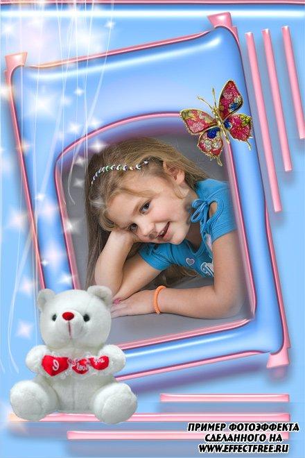 Вставить фото в детскую рамку с медвежонком онлайн