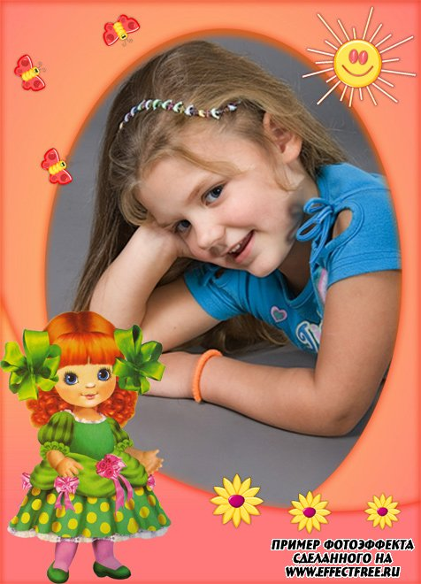 Яркая рамочка для девочки с куклой сделать онлайн