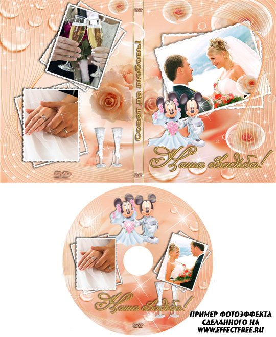 Прикольная обложка для ДВД с Микки Маусами, сделать обложку онлайн