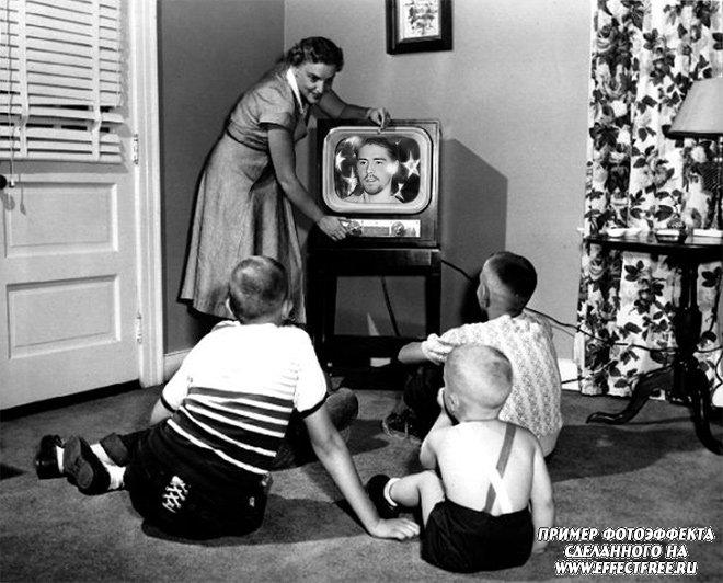 Фотоприкол с фото на экране первого телевизора, сделать онлайн