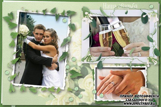 Зеленая рамка Наша свадьба на три фото, сделать онлайн