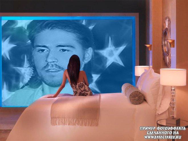Фотоэффект на большом экране в комнате девушки, сделать онлайн
