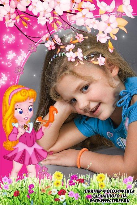 Детская розовая рамочка для девочек, сделать онлайн