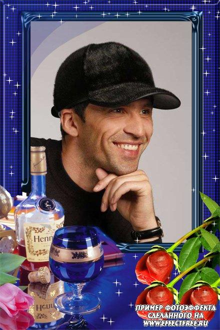 Стильная мужская рамка с розами и виски, сделать онлайн