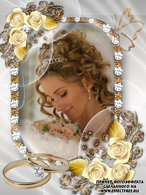 Красивая стильная рамка для свадебных фото, сделать онлайн