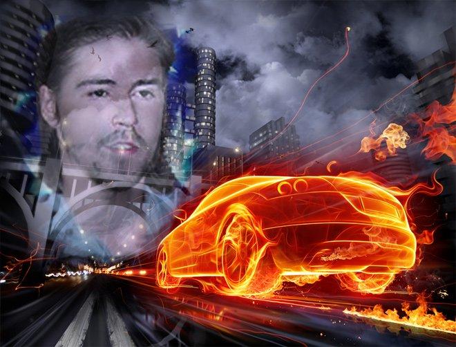 Фотоэффект в небе с огненной машиной, сделать онлайн